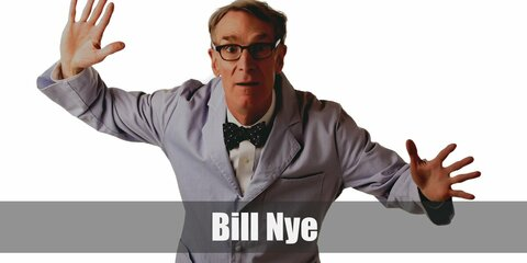 Bill Nye's costume includes a white button-down with a red bow tie. He wears a blue coat and light-colored pants.