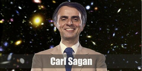 Carl Sagan's costume can easily be done by simply wearing a red turtleneck top under a brown blazer or jacket. Pair the jacket with matching brown pants and red sneakers.