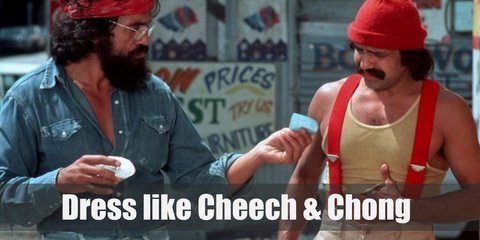 Cheech costume is a yellow sando top, red suspenders and matching beanie, khaki pants, and open-toed leather footwear. Chong costume is a long sleeved denim top and distressed jeans with brown shoes, eyeglasses and a red bandana.