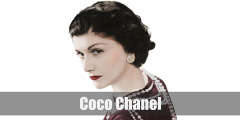 Coco Chanel's costume is a simple long-sleeved black shirt tucked into a long blacks skirt with layers and layers of pearls around her neck. Coco Chanel is one of the most famous fashion icons in history.