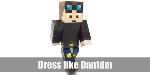 Dantdm costume is a light blue shirt underneath a zip-up jacket, denim pants, yellow knee pads, and a pair of goggles. His hair is also blue in color.