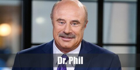 Dr. Phil's iconic costume look can be recreated with an inflatable belly under a shirt and suit. Complete the look with a balding wig and a fake mustache.