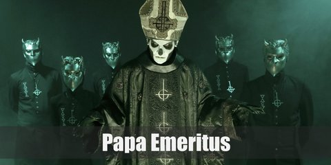 Papa Emeritus costume include a black priestly robe with black gloves. Top it with a velvet cloak and papal hat. For his mask, use a white and black face paint.