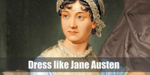 Jane Austen's costume is wearing 18th-century dress with a stay or stomacher, a peasant bonnet, and dark shoes. Her brunette hair is tied to a bun updo.