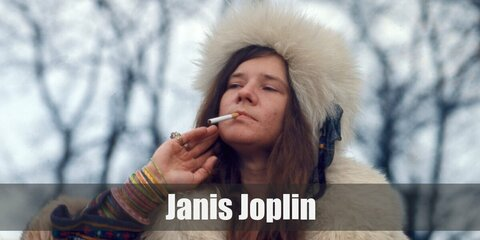 Janis Joplin's costume is hippie and loose so make sure to wear billowing sleeves, bell bottoms, and beaded accessories.