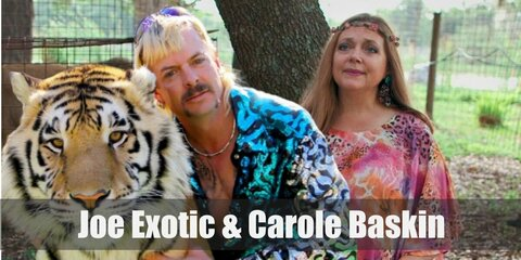 Joe Exotic's costume can be recreated with a shiny blue long-sleeved top as well as pants. Wear a brown gun holster and shoes, too. You may also opt for a mullet wig and fake mustache!