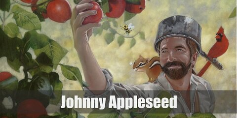 Johnny Appleseed's costume is a brown vest on your red lumberjack shirt and black pants. He also got a brown satchel and a pan over his head.