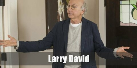 Larry David costume is a grey shirt, dark jacket, and brown pants. Nail the costum with a pair of brown pants and eye glasses.