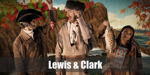 Lewis and Clark's costume features a white turtleneck top, a brown button down, frilled vest, and brown pants.  Both of them also carry a rifle. Lewis has a white hair with a tricorne hat, while Clark has a brown curly one.
