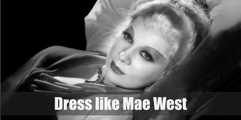 Mae West's outfit, is a black floor-length gown, a black lace shawl, black heels, and a pin-up blonde wig?