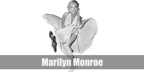 Marilyn's iconic look includes a white halter dress and her signature short hair cut and red lips.