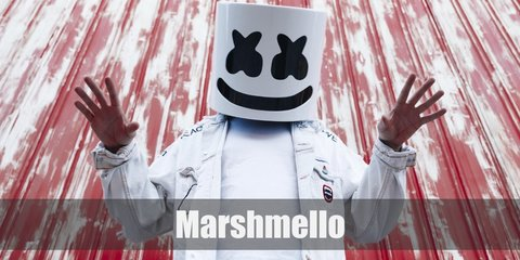 Marshmello costume is a white bucket hat shaped like a marshmallow and all-white clohting from head to toe.