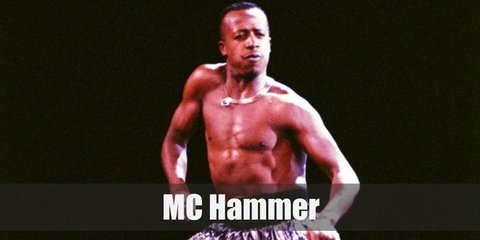 MC Hammer costume is a yellow or golden jacket or vest with sleeves. He also has his signature parachute pants.