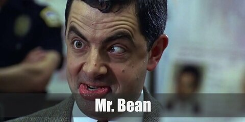 Mr. Bean's costume is a white dress shirt, brown pants, black Oxfords, a red tie, and a brown tweed jacket. Don't forget to bring Teddy along! Mr. Bean overcomplicates tons of things with his silly antics.
