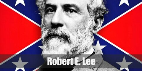 Robert E. Lee's costume features a grey confederate general uniform with yellow accents