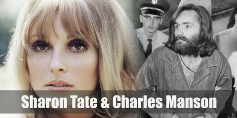 Sharon Tate's costume is a night gown, fake blood, and blonde wig. Charles Manson's costume is a blue button-down shirt, denim jeans, long curly brunette wig, and his trademark forehead tattoo.