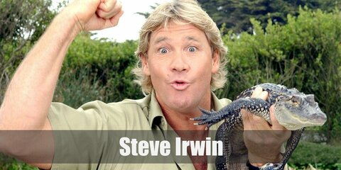 Steve Irwin's costume is his trademark khaki polo shirt, khaki shorts, and a pair of brown work boots. You can even bring along a reptile to look authentic!