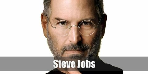 Steve Jobs costume is a black long sleeved turtleneck, denim pants, as well as white sneakers.