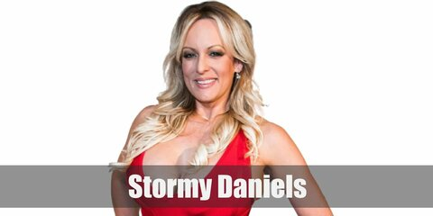 Stormy Daniel's costume is a red mini dress as well as with a pair of black strap heels. Add a blonde wig to finish the look, too.
