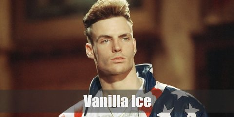Vanilla Ice is a professional rapper who is known for his incredibly high hairstyle and American flag-inspired hip hop attire.