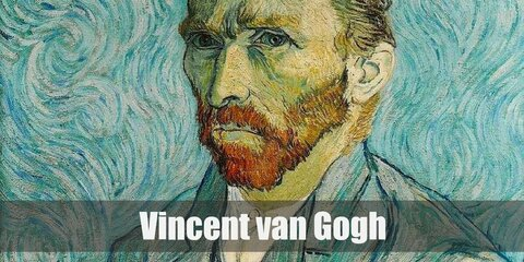 Van Gogh's costume can be recreated with a white shirt and a blue cardigan. Wear khaki-colored pants and dress shoes. Be sure to add in a red beard and a hat too!