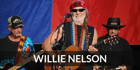 Willie Nelson's costume is a black shirt, a long blond wig tied into braids, and a red bandanna. Willie Nelson is one of the most celebrated country singers today.