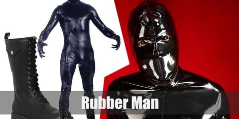 Rubber Man costume is being covered head to toe in black latex.