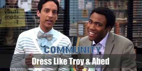 Troy often rocks a classy and simple grey suit while Abed never to fail to look good in his stripe cardigan sweater