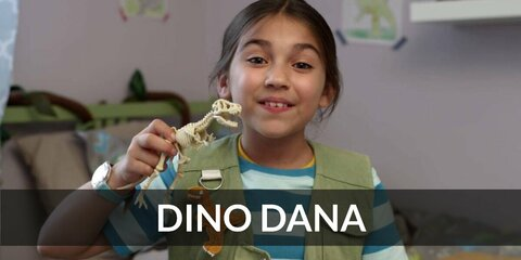 Dana's costume is a blue-striped shirt, a green vest, khaki pants, brown boots, and a beige backpack. No one is as dinosaur crazy as Dino Dana.