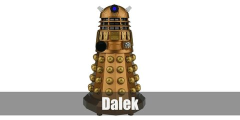 It's easy to create a Dalek-inspired outfit. All you need is a brown top, a gold skirt, and a few craft pieces.