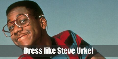 Steve Urkel wears a thick pair of eyeglasses, 'high-water' or 'flood' pants held up by beight suspenders, multi-colored T-shirts or shirts, and a pair of saddle shoes.