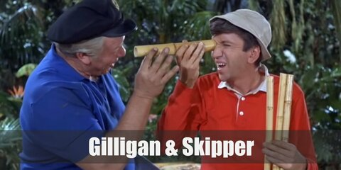 Gilligan's costume is a red long-sleeved shirt, blue pants, and a khaki bucket hat. Skipper's costume is a blue collared shirt, khaki pants, and a black sea captain's hat.