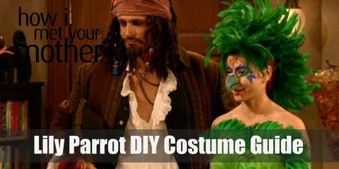 To make this crazy Lily Parrot costume yourself, all you need is a bunch of feathered boas, a tight green dress, purple tights, and a parrot headdress along with a couple extra accessories.