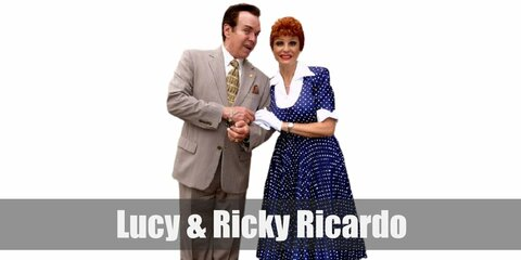 Ricky Ricardo costume is a white dress shirt, black blazer, black pants, a black bowtie, and a simple straw hat. Lucy`s costume features a cute vintage polka-dot dress with gloves and a pair of pumps.