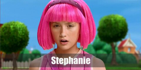 Stephanie's costume is an all-pink stunner than featues a striped dress and pink shoes. She tops it off with her pink wig, too.