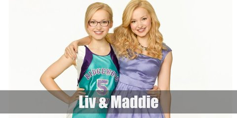Liv wears a blue scale blouse, denim pants, sun glasses, a silver necklace, a yellow watch, and high heels. Maddie wears a school basketball uniform, glasses, a purple wristband, white socks, and basketball shoes.