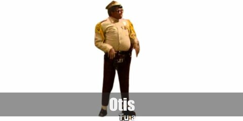 Otis costume is a khaki cop outfit with yellow epaulets and tassels. Then wear brown pants and black shoes, too. Then carry a toy gun in a holsterand top it off with an army cap.
