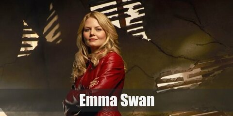 Emma Swan's costume is a grey tank top, a red leather jacket, denim jeans, brown knee-high boots, and a pendant necklace. Emma is the savior daughter of Snow White and Prince Charming.
