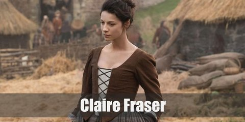 Claire Fraser's costume is an 18th century Scottish dress you can recreate with a long plaid skirt, a white peasant top, and a corset.