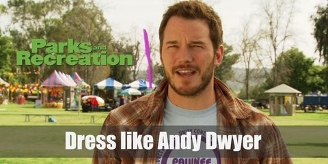 As a commemoration of his accident in season 1, this guide will help you wear Andy Dwyer's very first outfit in the show. It consists of a red raglan tee, a gray towel, and lots of white bandages.