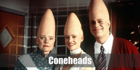 The coneheads costume consists of a striking cone-shaped head piece. Their clothing in the show is mostly normal with Beldar wearing office-ready clothes. While Prymaat and Connie wear more casual clothing.