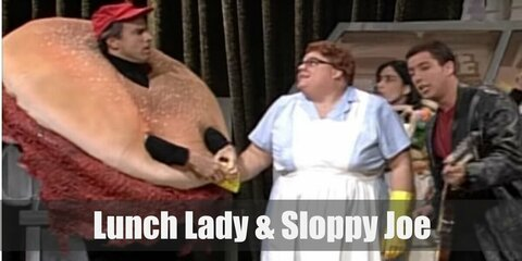 Lunch Lady & Sloppy Joe's costumes are a blue work dress under a white apron, a cat-eye pair of glasses, and yellow rubber gloves as well as a black turtleneck top, black pants, a red cap, and a burger suit.