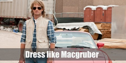 Macgruber's costume is a blue plaid button-down shirt, beige fishing vest, and denim pants. He also sports dirty blonde hair and an awesome pair of brown Aviators.