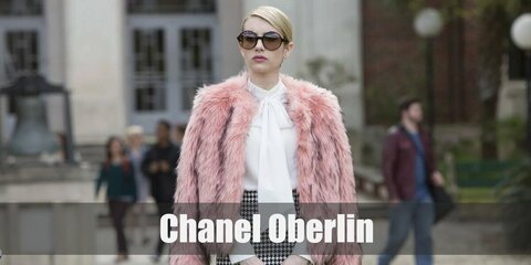Chanel's costume is a white pussy bow blouse, a black and white mini pencil skirt, a pink fur jacket, pink knee-high socks, white heels, black round sunglasses, and a pink mini-tote. Chanel may be mean and manipulative but she is 100% a style queen.