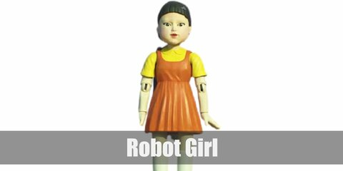 Robot Girl's costume is a yellow shirt underneath an orange dress, white knee-high socks, black Mary Janes, and purple hair ties on pig-tailed hair.