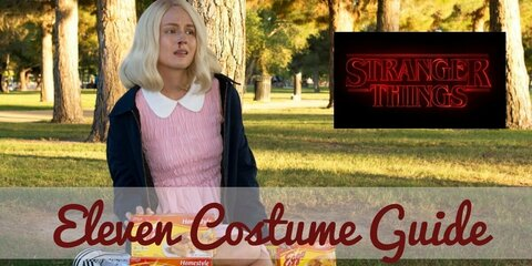 Eleven Costume Guide: pink frock, white socks, bomber jacket, white shoes, blonde wig, fake blood & Eggo.