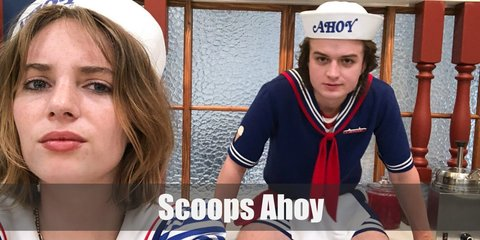 Steve's Scoops Ahoy costume includes a blue shirt and shorts, red bandana, white socks, and red sneakers. Robin's include a white striped shirt, vest, blue shorts, white socks, and red sneakers. Both wear the Scoops Ahoy sailor hat in white.