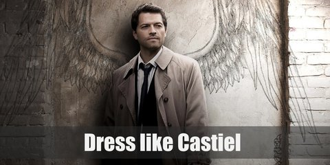 Castiel costume is a crisp white dress shirt, blue tie, black slacks, and his iconic khaki trench coat.