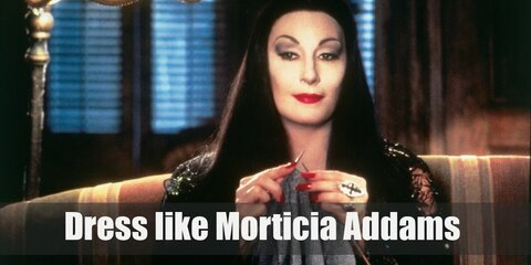 Morticia Addams outfits differ very little despite being portrayed by many actresses throughout the years. She prefers a long, tight-fitting black gown that spreads to the floor.