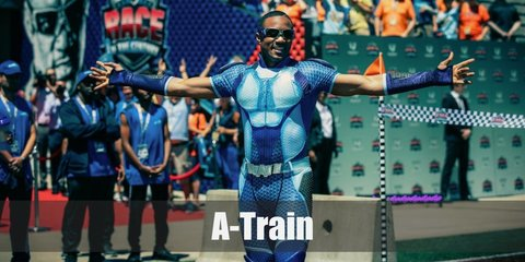 A-train costume is a blue sport shirt with short sleeves, blue sport pants, blue wind-proof goggles, a white silicon belt, blue arm guards, shoulder pads, and blue high boots.